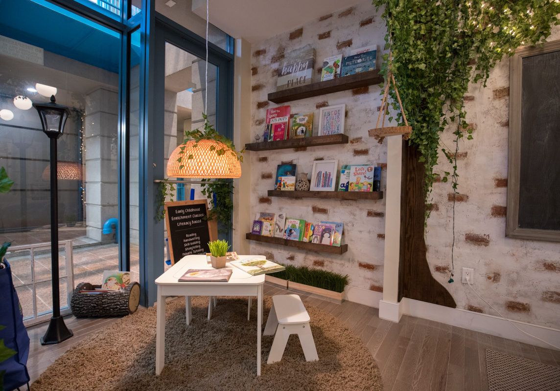 A nicely lit reading corner in Book Nook Tribeca